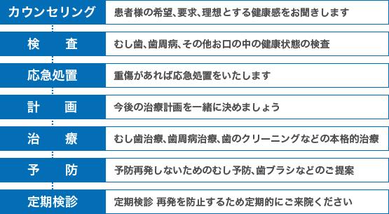 カウンセリング→検査→応急処置→計画→治療→予防→定期検診
